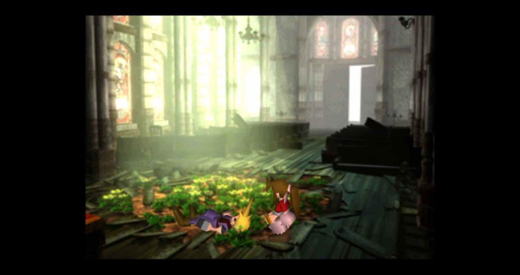 教会でエアリスと再会するクラウド